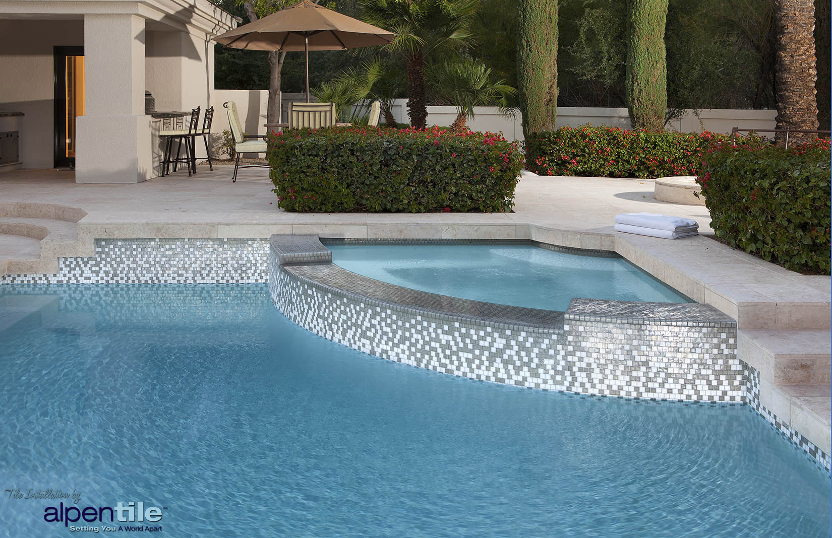 Alpentile glass mosaic swimming pool designs alpentile for Pool tile designs